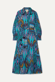 Figue Indiana tasseled printed cotton midi dress