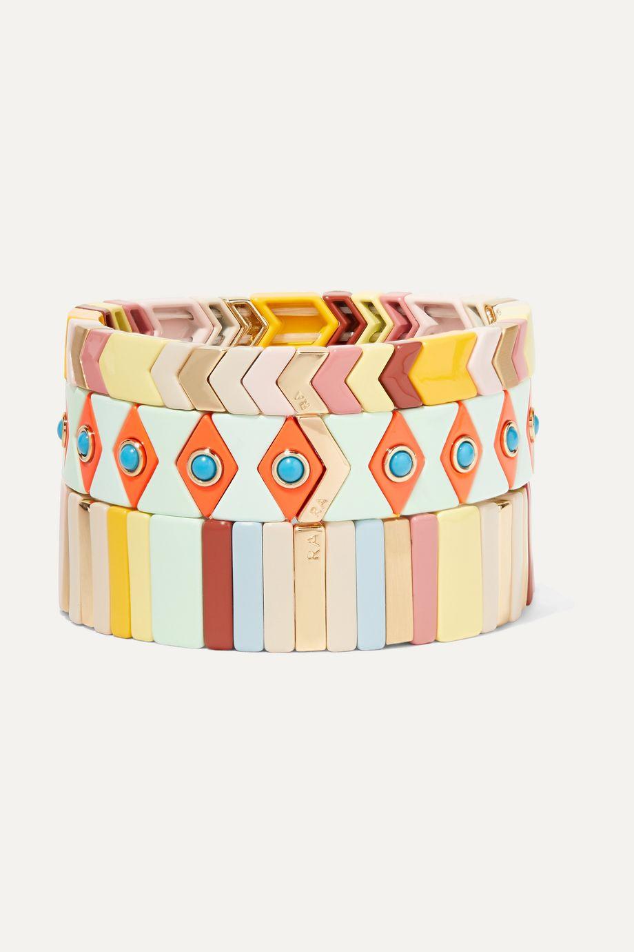 록산느 애슐린 팔찌 Roxanne Assoulin Gelato set of three enamel and gold-tone bracelets,White