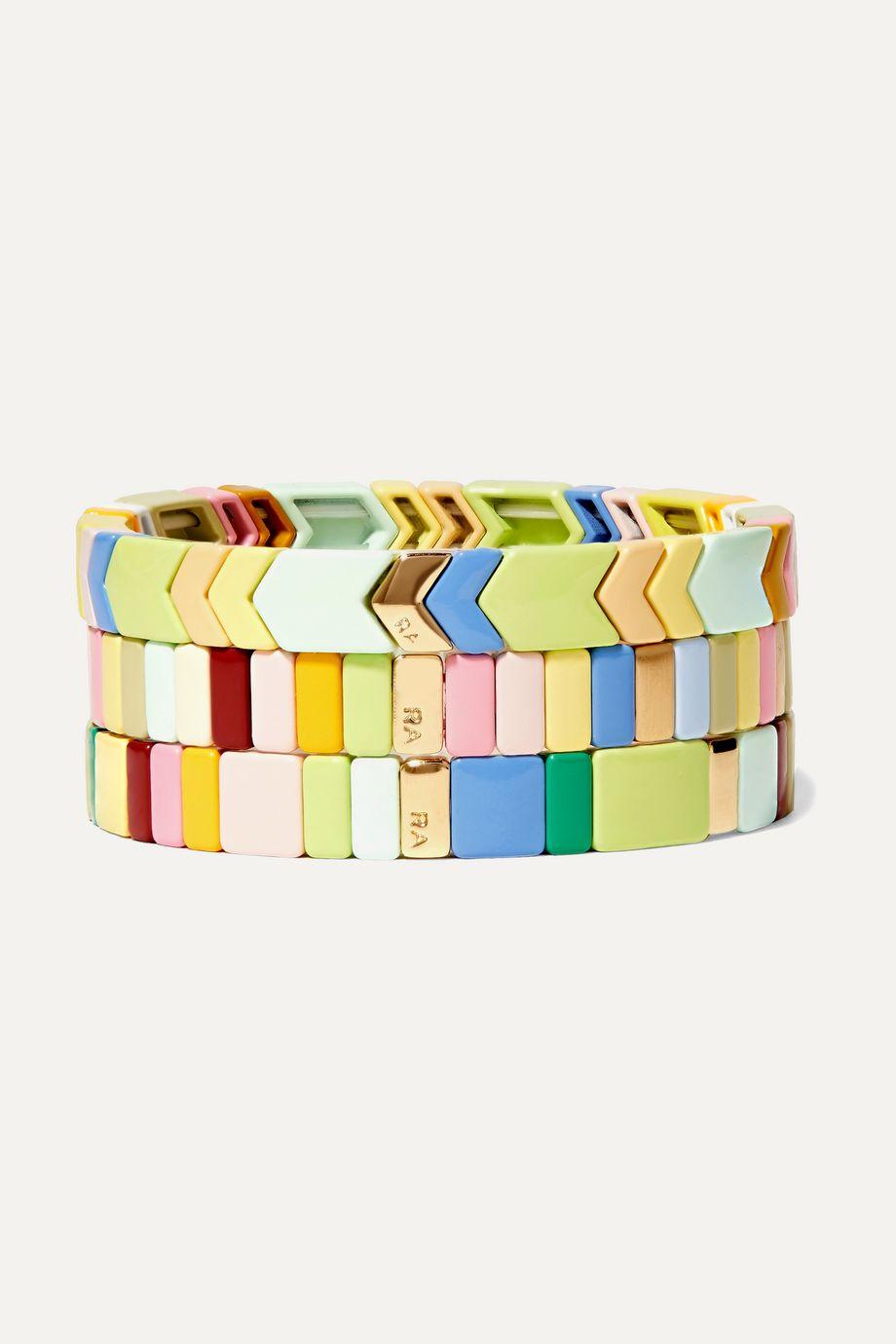 록산느 애슐린 레인보우 라이트 팔찌 Roxanne Assoulin Rainbow Lite set of three enamel and gold-tone bracelets,Green