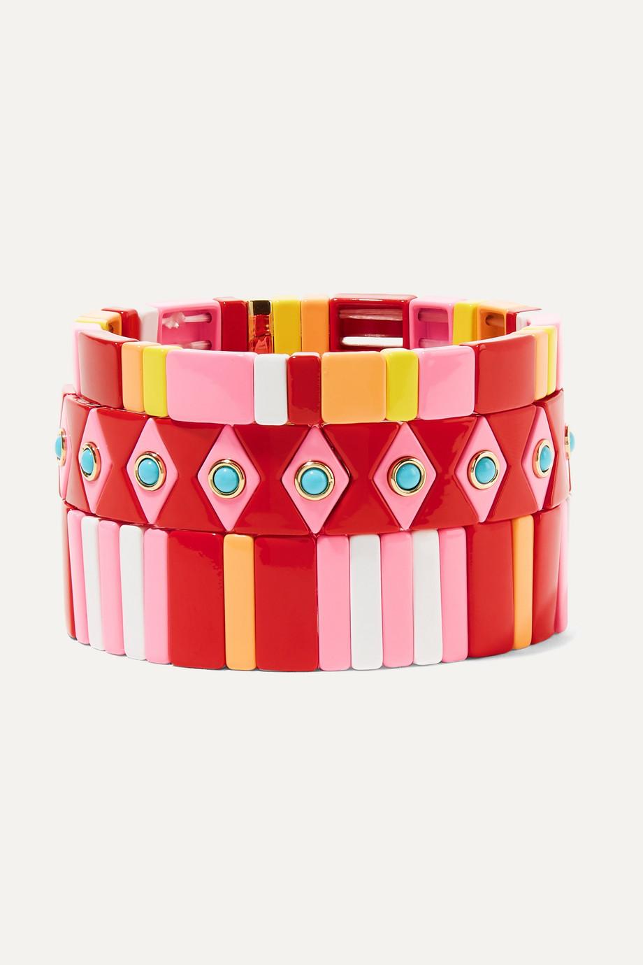 록산느 애슐린 팔찌 Roxanne Assoulin Hibiscus set of three enamel bracelets,Pink