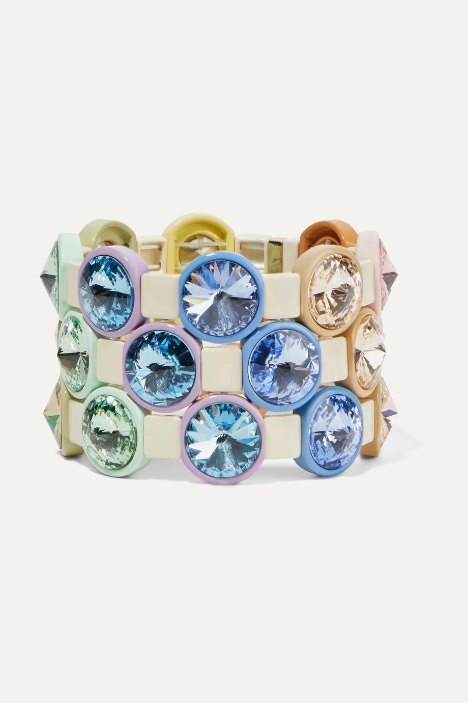 록산느 애슐린 팔찌 레인보우 라이트 Roxanne Assoulin Rainbow Lite set of three enamel and crystal bracelets,Blue