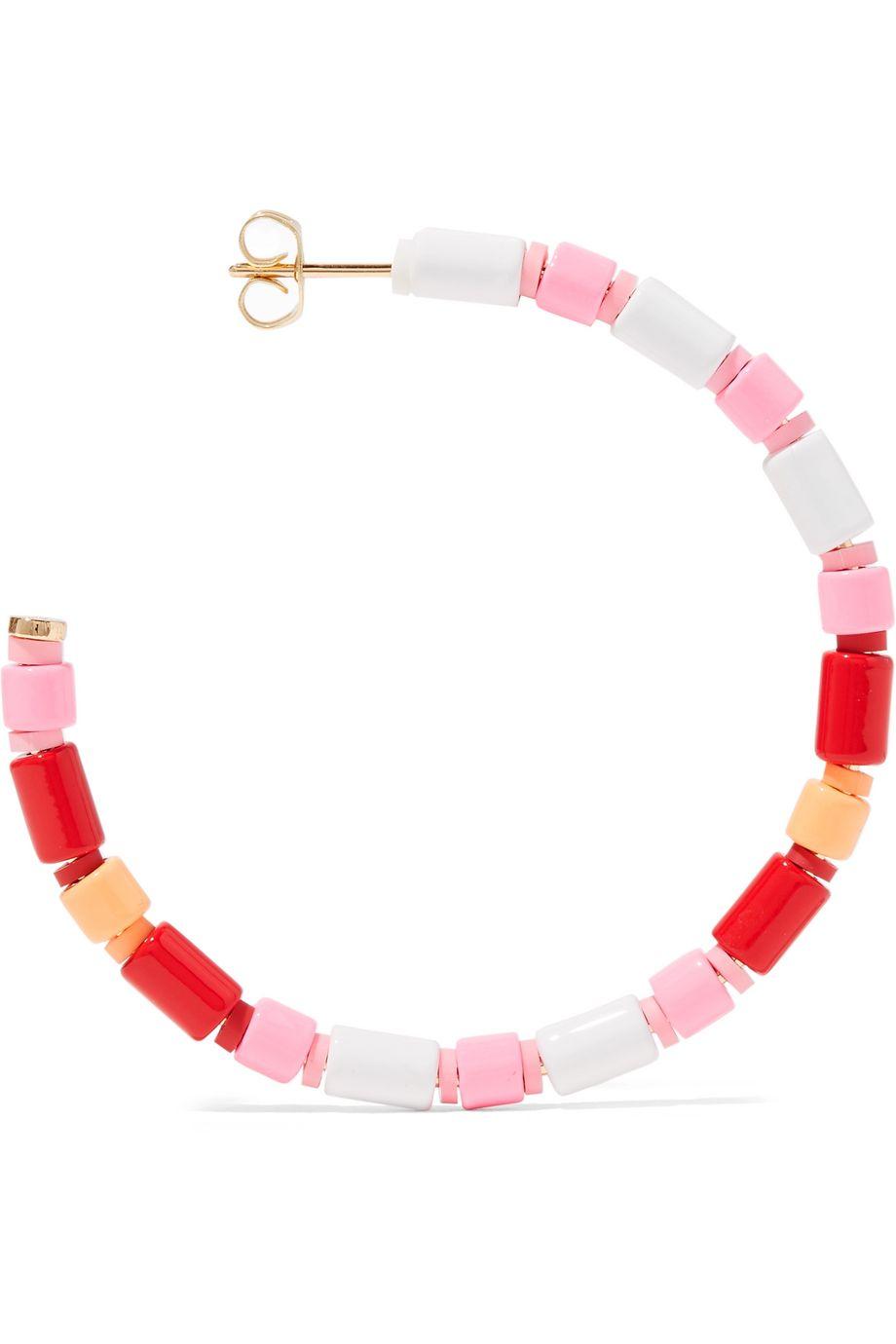 Roxanne Assoulin U-Tube enamel hoop earrings