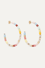 Rainbow Lite gold-tone and enamel hoop earrings