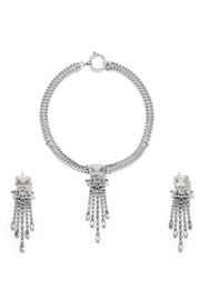 Silver-tone crystal necklace and earrings set