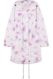 Dries Van Noten Hooded floral-print crinkled-organza coat