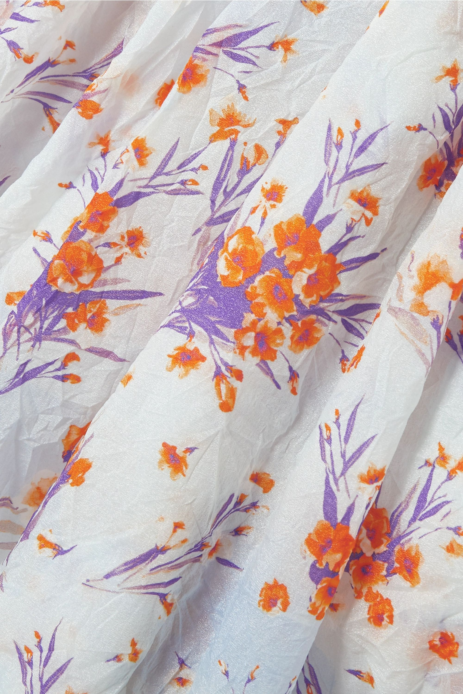 Dries Van Noten Robe en taffetas froissé à imprimé fleuri et à découpe