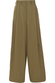 Pleated wool wide-leg pants