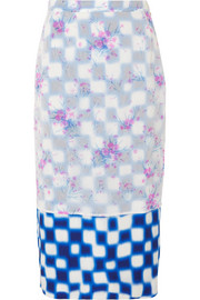 Layered floral-print crinkled-organza and checked satin midi skirt