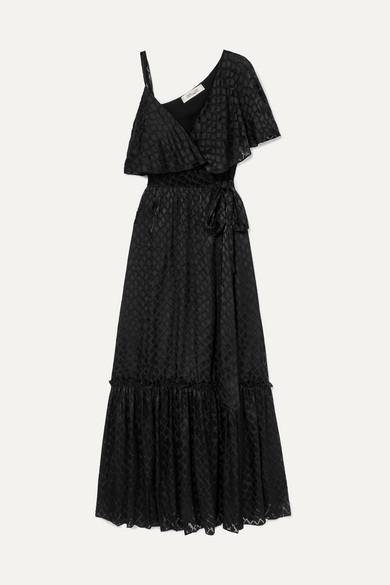 DIANE VON FURSTENBERG | Diane von Furstenberg - Ella Asymmetric Devoré-satin Wrap Maxi Dress - Black | Goxip