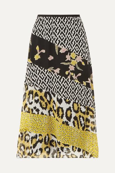 DIANE VON FURSTENBERG | Diane von Furstenberg - Darcie Printed Silk-chiffon Midi Skirt - Yellow | Goxip