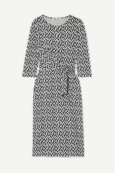 DIANE VON FURSTENBERG | Diane von Furstenberg - Pearl Tie-detailed Printed Silk-jersey Dress - Black | Goxip