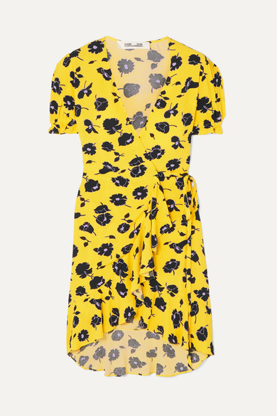 DIANE VON FURSTENBERG | Diane von Furstenberg - Emilia Ruffled Floral-print Crepe Wrap Dress - Yellow | Goxip