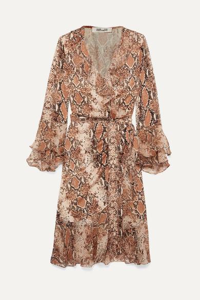 73f04d30121 Diane von Furstenberg   Carli ruffled snake-print silk-jersey and georgette wrap  dress   NET-A-PORTER.COM