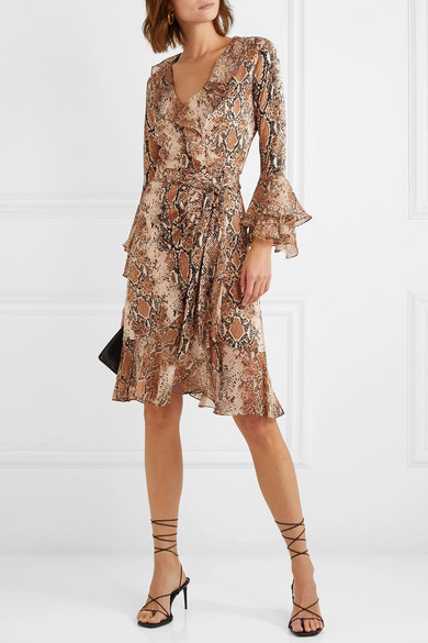 9ac8ff6c766 Diane von Furstenberg. Carli ruffled snake-print silk-jersey and georgette wrap  dress. $600 $24060% OFF. Reduced further. Play. Zoom In