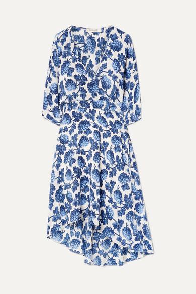 Eloise Asymmetric Printed Silk Crepe De Chine Wrap Dress by Diane Von Furstenberg