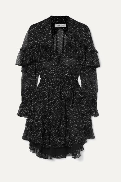 Robe Portefeuille En Crépon De Soie à Pois Et à Volants Martina by Diane Von Furstenberg