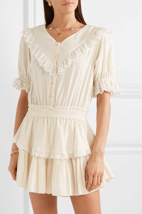 Nanette broderie anglaise-trimmed striped cotton-voile mini dress