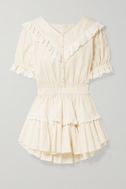 LoveShackFancy Nanette broderie anglaise-trimmed striped cotton-voile mini dress