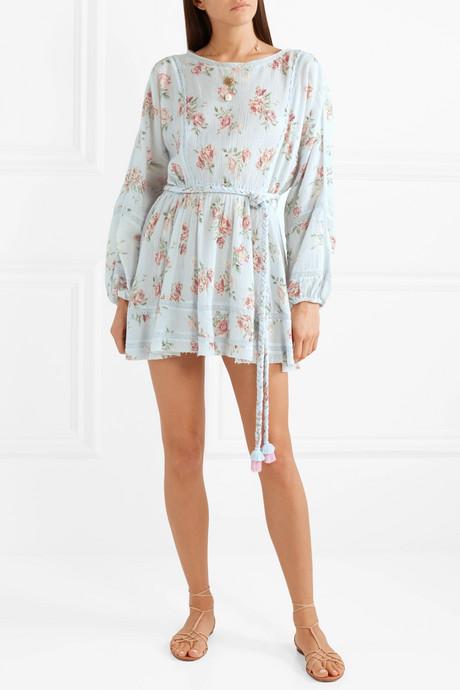 Noelle crochet-trimmed floral-print cotton-crepon mini dress