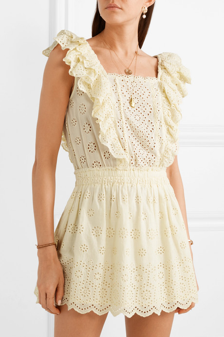 Dora ruffled broderie anglaise cotton mini dress