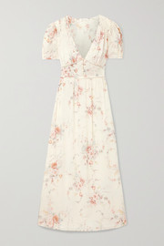 LoveShackFancy Ariel floral-print silk-georgette maxi dress