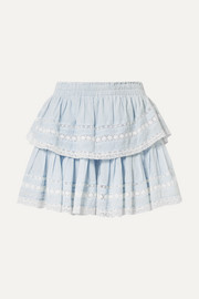 LoveShackFancy Riviera tiered crochet-trimmed cotton-voile mini skirt