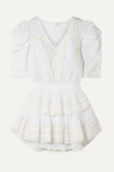 Loveshackfancy Beachwear Marissa tiered crochet-trimmed broderie anglaise cotton-voile mini dress