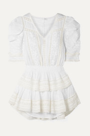 LoveShackFancy Marissa tiered crochet-trimmed broderie anglaise cotton-voile mini dress