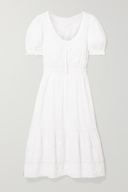 LoveShackFancy Wendy lace-trimmed embroidered cotton-voile dress