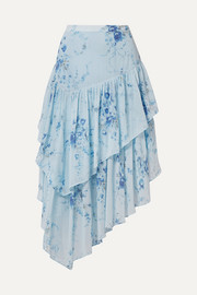 LoveShackFancy Rowan asymmetric tiered floral-print silk-georgette skirt