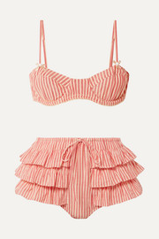 LoveShackFancy Cassandra striped cotton-voile bikini