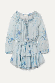 LoveShackFancy Celestia tiered floral-print silk-georgette mini dress