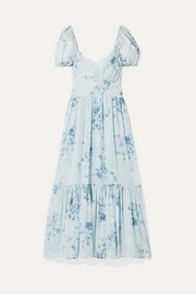 LoveShackFancy Angie gathered floral-print silk-georgette maxi dress