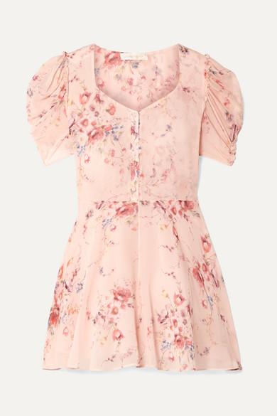 b4d177c0349 LoveShackFancy | Cora floral-print silk-georgette mini dress | NET-A ...