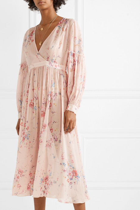 Leah frayed floral-print silk-georgette midi dress