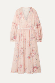 LoveShackFancy Leah frayed floral-print silk-georgette midi dress