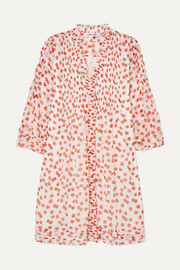 Diane von Furstenberg Layla ruffled floral-print silk-crepon mini dress