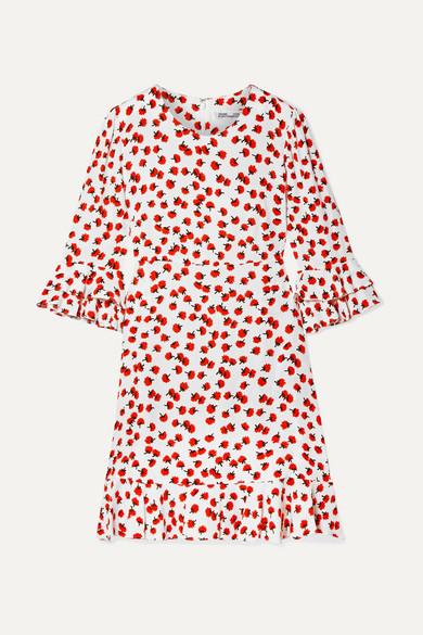 Elly Ruffle Trimmed Floral Print Crepe Mini Dress by Diane Von Furstenberg