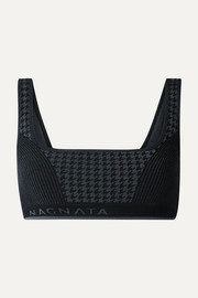 + The Woolmark Company houndstooth technical stretch-knit sports bra
