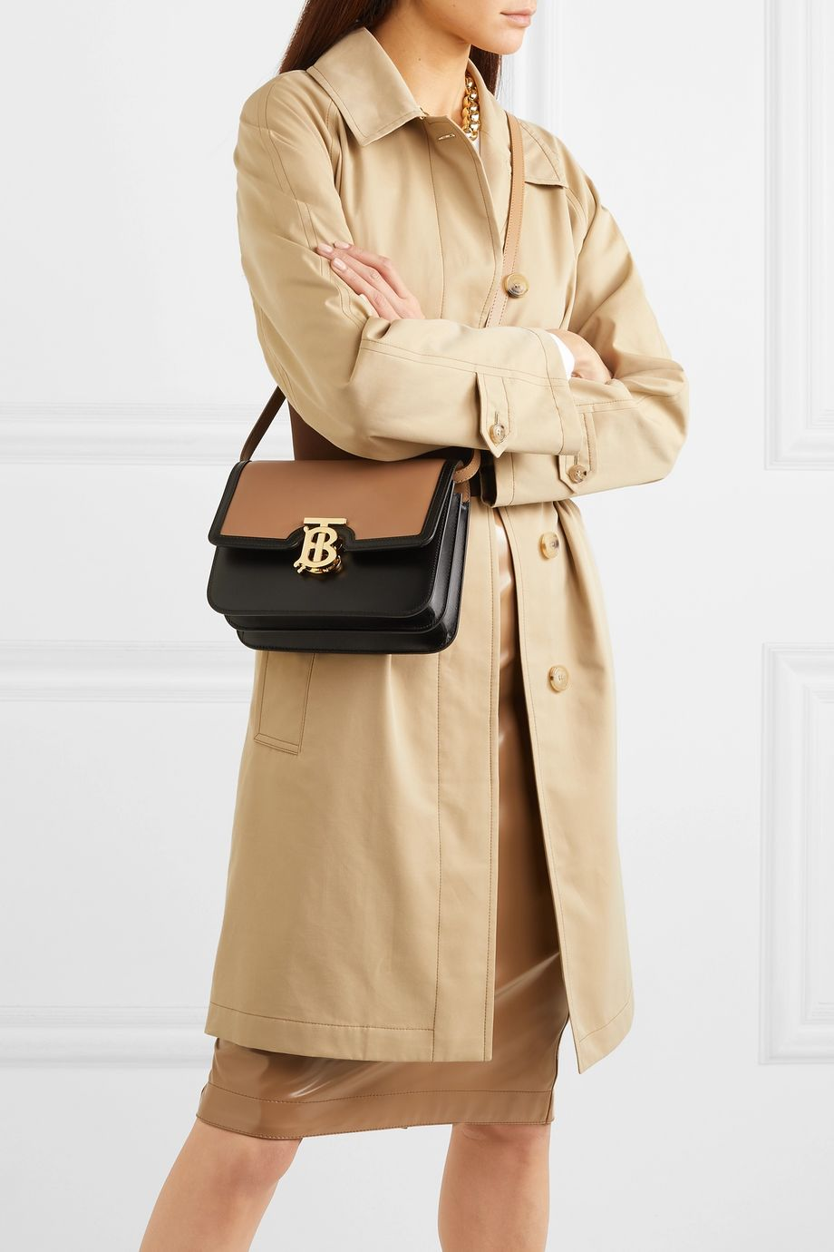 Burberry Small two-tone leather shoulder bag
