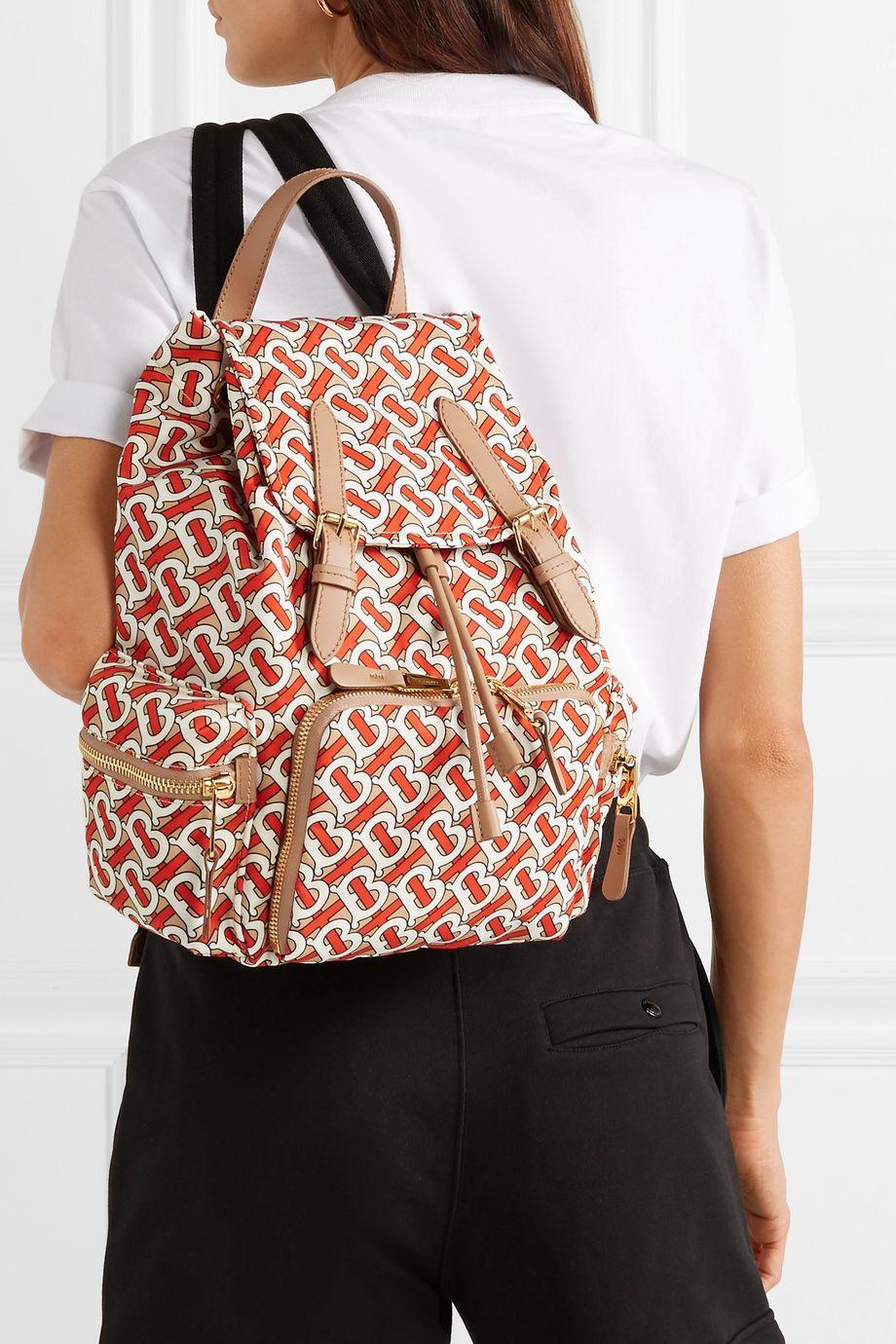Burberry Medium leather-trimmed printed gabardine backpack