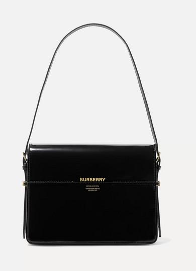 fe2d0a0fa7 Burberry Horse Ferry Patent Shoulder Bag, Black   ModeSens