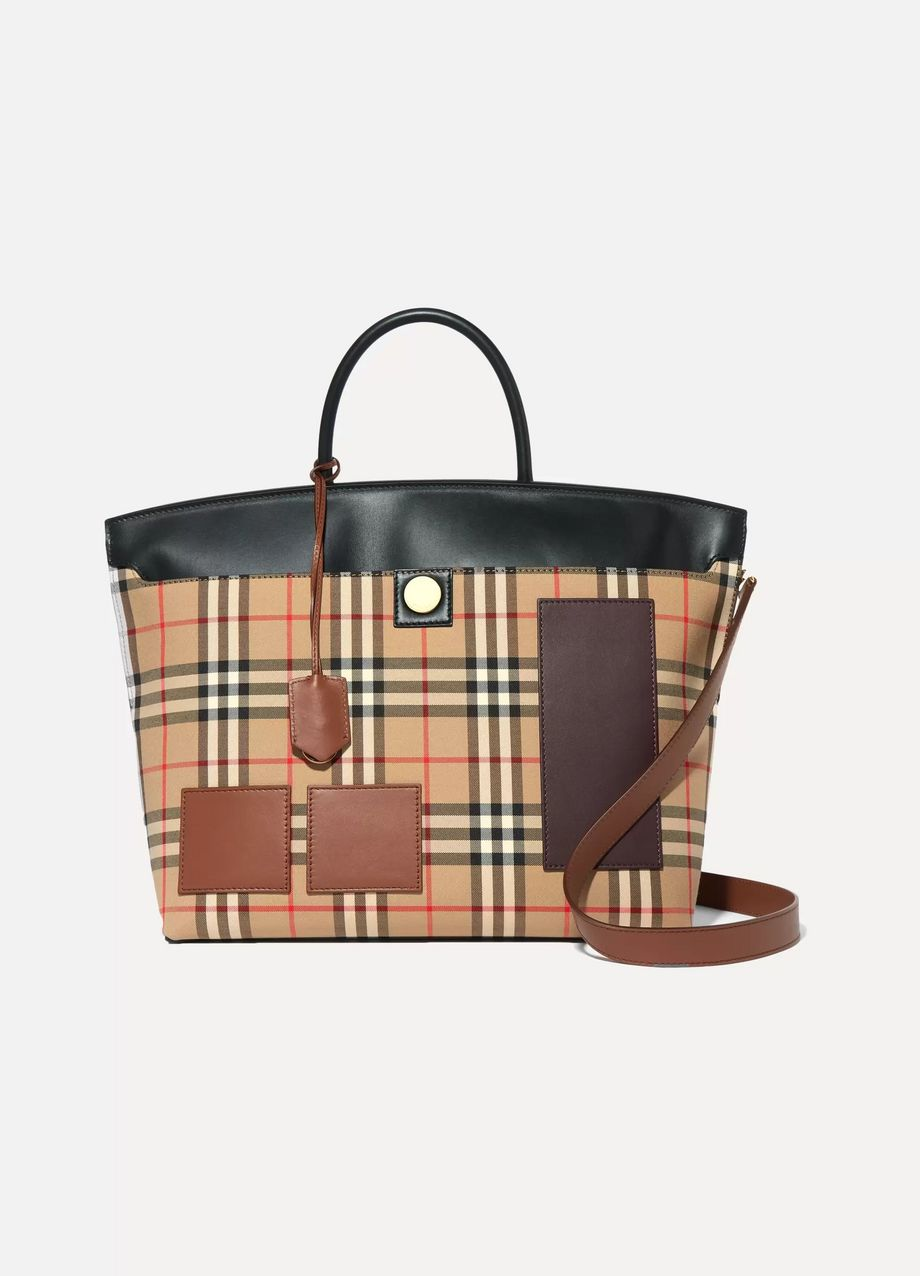 Burberry Leather-trimmed checked cotton-drill tote