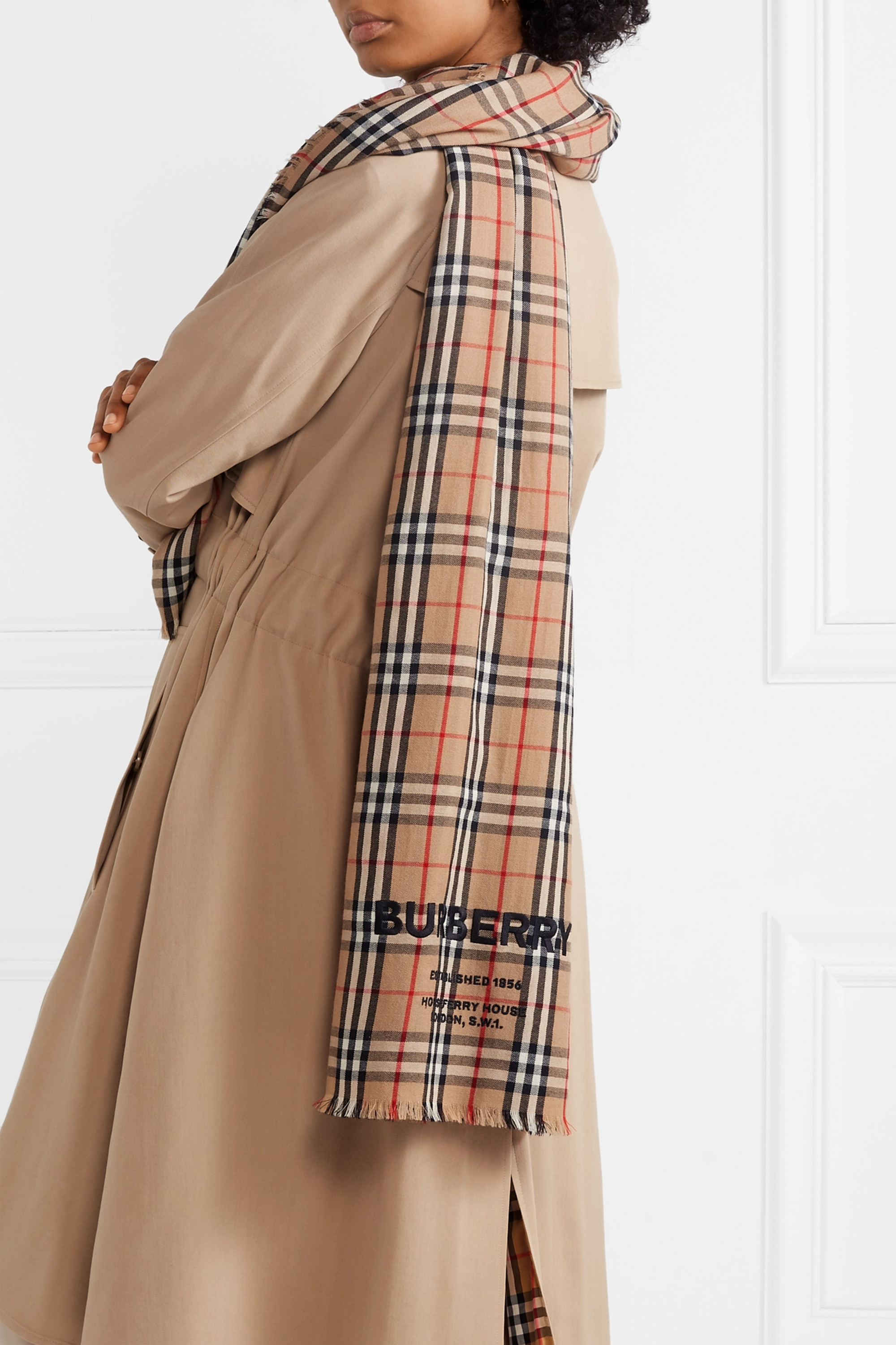 Burberry Checked embroidered cashmere scarf