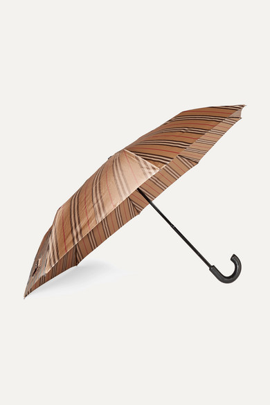 Burberry Accessories Leather-trimmed striped shell umbrella