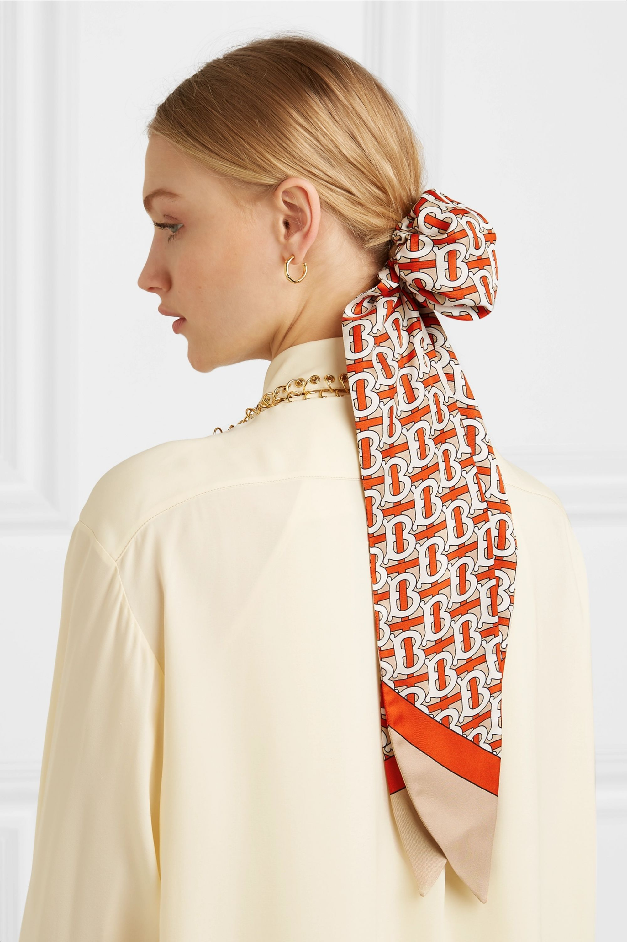 Burberry Printed mulberry silk-twill hair tie