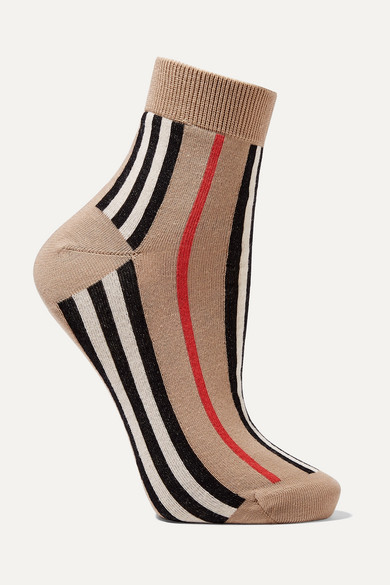 Striped Cotton Blend Socks by Burberry
