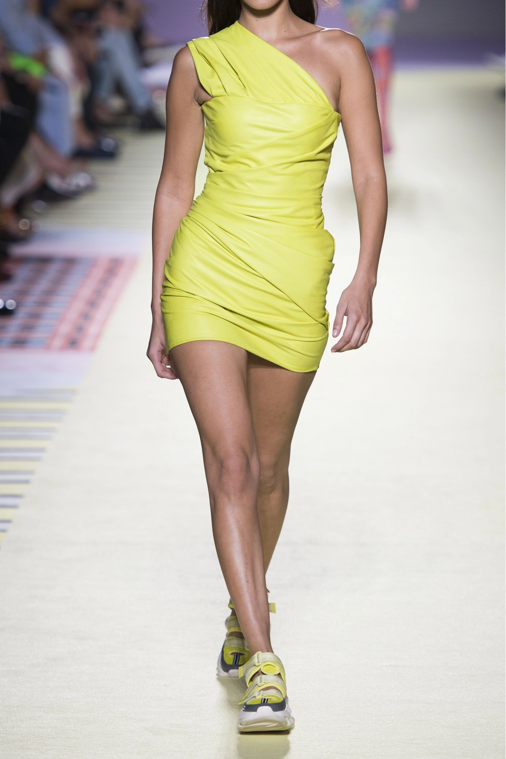 Versace One-shoulder ruched leather mini dress