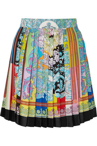 4782cf7361 Pleated printed silk-twill mini skirt
