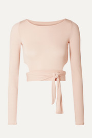 Cropped cutout stretch-modal wrap top